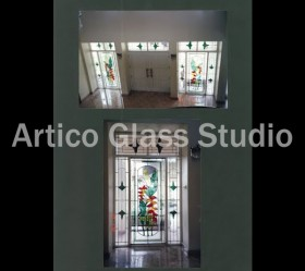 stained glass entrance door tropical design