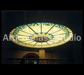 stained glass skylight round gold front entrance artico glass studio malaysia